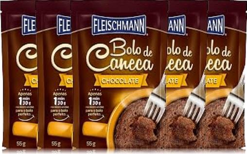 bolo de caneca, sabor chocolate, fleischmann