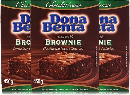 mistura para brownie dona benta chocolate com nozes e castanhas