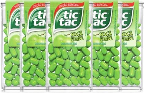 balas, confeitos tictac, pastilha tic tac maça verde