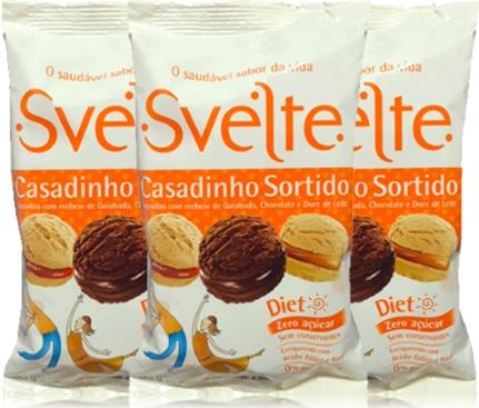svelte biscoito casadinho, recheio goiabada, chocolate, doce de leite