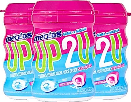 gum, goma de mascar mentos up2u up to you sabores tutti frutti, mint