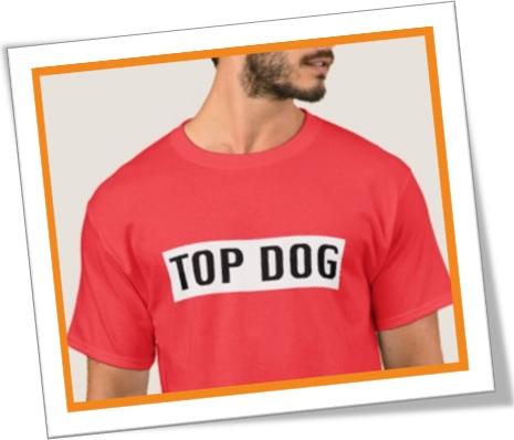 camiseta, top dog, mandachuva, figurão, maioral em inglês