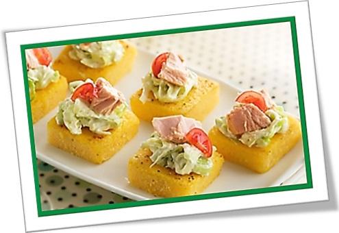 polenta squares, polenta rectangles, quadrado de polenta, polenta com cobertura