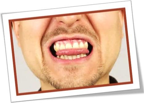 bite ones tongue, morder a língua, controlar-se