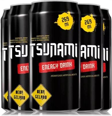 bebida energética, energy drink, tsunami, latas